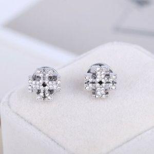 NEW Tory Burch Crystal Logo Silver Stud Earrings
